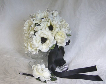 Black and white bridal bouquet and boutonniere 8 piece set elegant black and white wedding