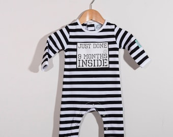 Baby Shower Gift : Just Done Nine Months Inside Organic Baby Grow For Boy or Girl