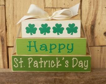 Happy St. Patrick's Day, Small Block set, Blocks, Wood stack, Wood blocks, Happy St. Patrick's Day, Clovers, Happy St. Patrick's Day Sign