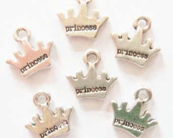 12 Princess Crown Charms 13x10mm