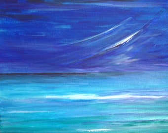 Original Seascape Painting Acrylic: Moody Blue.