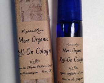FREE SHIPPING/Vegan-Mens Organic Roll On Cologne Oil-Choose from 30 Scents-1/3 oz. Alcohol free-No Phthalate-Dpg-Nitro Musk & Cruelty Free
