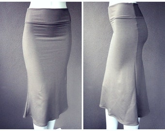 Fitted organic skirt, pencil skirt, organic cotton skirt, handmade skirt, organic clothes, long grey skirt