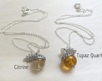 November Citrine OR Topaz Birthstone Necklace  | Acorn Necklace | November Birthday Necklace |Gemstone Acorn Charm Necklace | Nature Jewelry