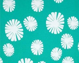Lotta Jansdotter fabric - Follie - Windham Fabrics - cotton canvas - large white flowers on Green - by 50 cm (110 x)