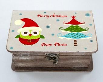 Personalised Christmas Eve Box, Xmas eve box, Children Owl Christmas Box, Christmas Gift Box, Wooden Christmas Eve Box, Traditional Eve Box