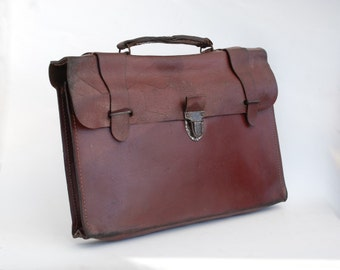 Leather Briefcase, Antique leather school bag, School antiques.