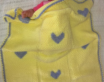 Yellow with Purple Hearts Baby Blanket
