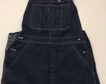 1960's JcPenney indigo overalls vintage dark wash denim overalls SMALL 30 32 penneys slim tailored tapered ankle