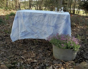 Lavender Tie Dyed Tablecloth Shibori Tablecloth Handmade Pastel Linen  Spring Table Cloth Mother's Day or Easter Layering Tablecloth