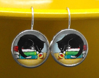 Tuxedo Cat Books Ball Earrings Bookish Literary Kitty