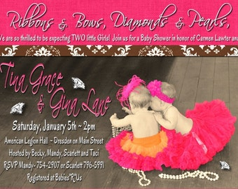 Diamonds and Pearls TWINS Baby Shower Invitation