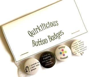 Crochet Pinback Button Badges 25mm, Gift for Crocheters, Quirky Badges, Love Crochet, Crochet Addict, Gift