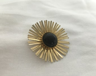 1950 Mid century modern brooch pin costume jewerly gold and black flower
