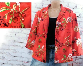unique jacket -red Fashion jacket, Cherry Blossom jacket -blazer red women, rare Vintage City Girl by Nancy Bolen - Size 14 jacket , # 4