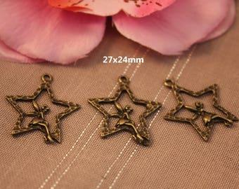 x 10 pendant, charm Bronze Star fairy 27x24mm - SK02631