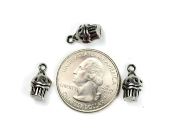 10 Antique Silver 3D Cupcake Charms