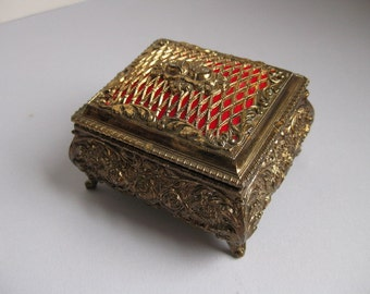 Vintage gold jewelry casket 1960s trinket box
