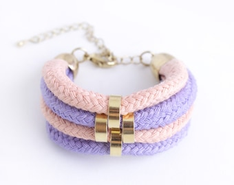 Lavender, Gold, Rose - Minimalist Bracelet with beads