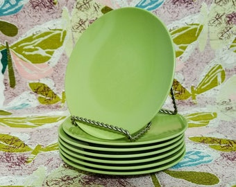 Green Melmac Plates Seven (7) Small Dessert Bread Mallo-Ware by Mallory Olive Avocado