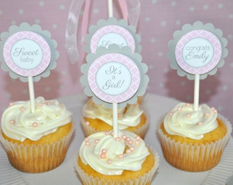 Girls Baby Shower Cupcake Toppers - Pink and Gray - Girl Baby Shower Decorations - Baby Shower Decorations - Set of 12