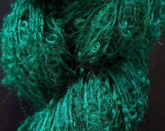 Emerald Green Boucle Mohair Skein (3 oz, 220 yards)