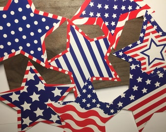 Star Patriotic Shapes 4th of July Large Stars Paper Crafting Supples Card Stock Journal Supplies Red White Blue Table Window Decorations