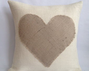 Two Tone Heart Burlap Pillow Cover