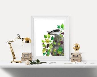 Badger painting> badger art print> nursery art> badger illustration>badger print> woodland illustration> nursery decor> nature art print