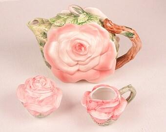 Vintage Rose Flower Tea Pot Set Ceramic Creamer Sugar Omnibus Japan Les Roses Seymour Mann Hand Painted Kitchen Home Decor Set
