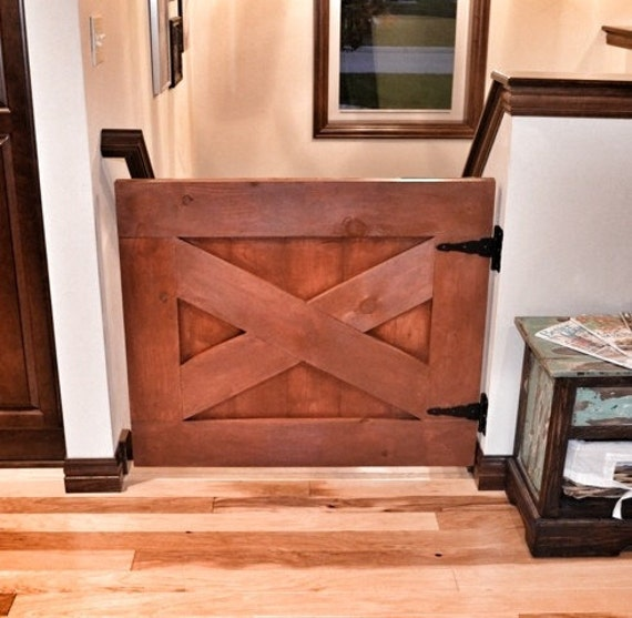 Custom Made Rustic Barn Door Style Baby Gate - Rustic Orange from RusticLuxeBoutique on Etsy Studio & Custom Made Rustic Barn Door Style Baby Gate - Rustic Orange from ...