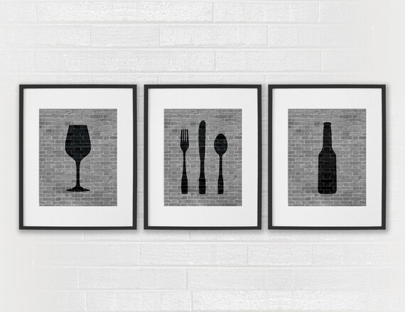 Modern Dining Room Art Prints Black White Kitchen Beer