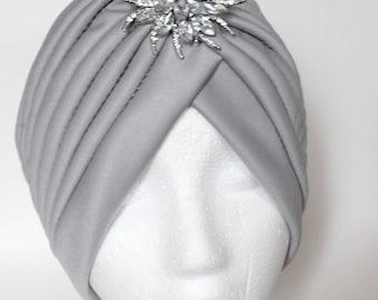 Turban Hat, Gray Turban, Fancy Turban, Beautiful Turban, Custom Turban, Custom Hat, Custom Headwrap, Front Twist Turban,  Performance Hat