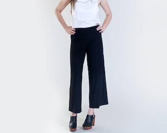 Women's Cropped Palazzo Pants • Black Wide Leg Bottoms • Tall Length Pant • Highwaters • Made in our USA loft • L415 & Co (#415-38)