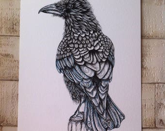 Raven, raven print, raven art print, woodland animal, bird art, raven gift, raven art, crow illustration, watercolour raven print, crow art