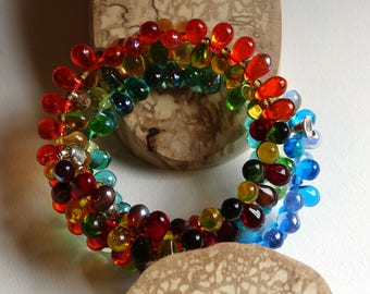 Bracelet multicolored cuff three towers arc/sky/Bohemian crystal and glass / gift idea for woman / Valentine / mother's day