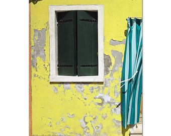 Italy Photography, Italy Wall Art, Rustic Home Decor, Photo, Burano Picture, Bathroom Wall Decor, Yellow Teal, Vertical Art Summer Outdoors