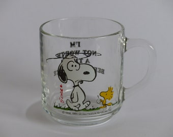 Snoopy and Woodstock Glass Mug 1970's