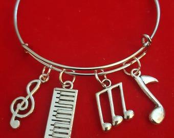 Silver Keyboard Themed Charm Bracelet