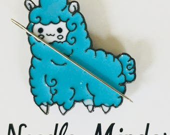 Blue Llama Needle Minder - Magnetic Cross Stitch, Sewing, Embroidery, Quilting Accessory