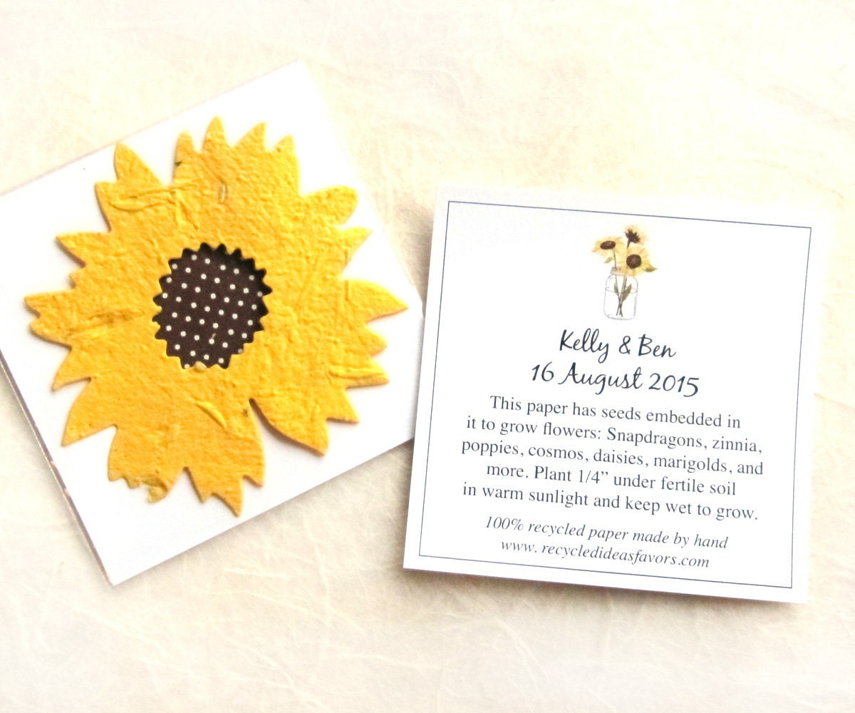 130 Sunflower Seed Wedding Favors Golden Yellow Plantable