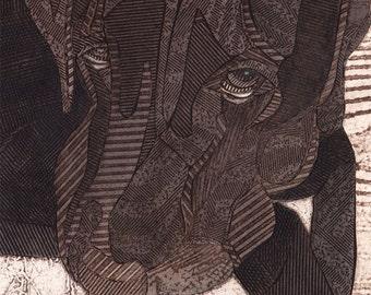Black Labrador Retriever - hand pulled collograph art print of dog - The Look 4