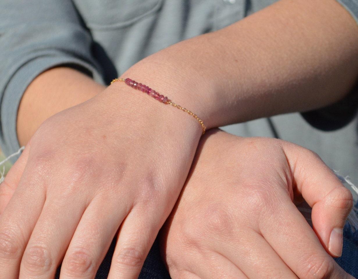 Pink Tourmaline Bracelet Danity Stacking Bracelet 14k Gold Fill