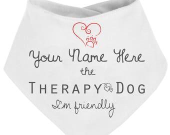 Therapy dog bandana - personalised, i'm friendly, pet bandana, puppy, custom service dog, therapy pets, awareness dog bandana, pet neckwear