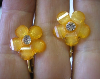 Earring - Flower w/Bling - Orange - 5/8""