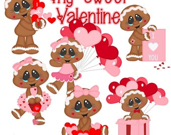 My Sweet Valentine EXCLUSIVE Clipart-Instant Download-Digital Clipart-Gingerbread-valentines day-hearts-balloons
