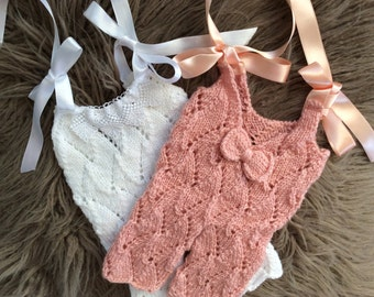 Newborn  Girl Photo Prop ,Baby girl Overalls ,Baby girl knit overalls .