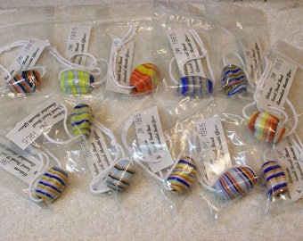 Moretti Glass Multicolor Swirl Focal Glass Beads / Lot Of 12 / Artisan Handmade In 1985
