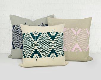 Personalized Navajo Inspired Pillows | Custom Diamond Decorative Pillow Case, Cushion Cover | 4 sizes | Aztec, Ikat, Tribal, Southwestern