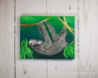 Sloth and Baby Sloth Painting on Canvas - 8 x 10 Acrylic Painting